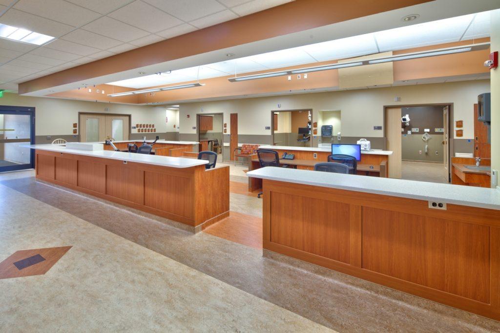custom nurse station - Nicholas H. Noyes Memorial Hospital - Gardner Plus Architects